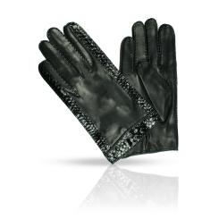 Мужские перчатки из натуральной кожи ягненка с тиснением от Dali Exclusive, арт. R86_HUN/BL//11