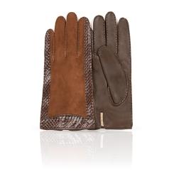 Перчатки из натуральной кожи ягненка и замши коричневого цвета от Dali Exclusive, арт. R86_HUN/GORJ//11