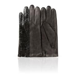 Мужские кожаные перчатки с гладкой и тисненной под рептилию частями от Dali Exclusive, арт. R86_OREST/BL//11