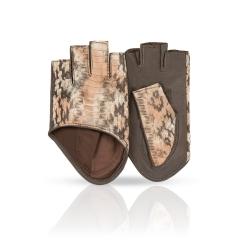 Автомобильные женские перчатки из натуральной кожи ягненка с тиснением от Dali Exclusive, арт. RYN0,5/F.GR