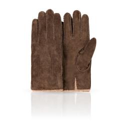 Коричневые замшевые мужские перчатки со светлой шерстяной подкладкой от Dali Exclusive, арт. SP16_FORK/BRUN