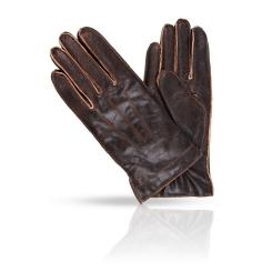 Мужские перчатки из натуральной кожи ягненка темно-коричневого цвета от Dali Exclusive, арт. TITUS/BR