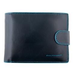 Мужское портмоне из натуральной кожи, синего цвета, со съемной визитницей от Dor. Flinger, арт. 005A-624 dark blue DF