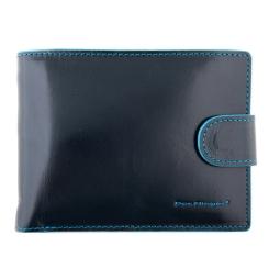 Мужское портмоне из натуральной кожи, синего цвета, с монетницей под клапаном от Dor. Flinger, арт. 008-624 dark blue DF