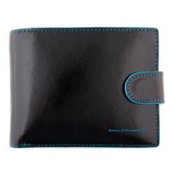 Кожаное мужское портмоне, черного цвета, с одним отделением под клапаном от Dor. Flinger, арт. 008-632 black DF