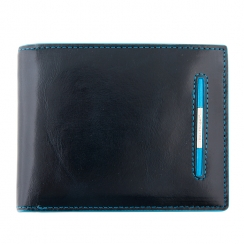 Мужское портмоне из натуральной кожи, синего цвета, с одним отделом и монетницей от Dor. Flinger, арт. 019-2-624 dark blue DF