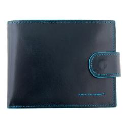 Мужское портмоне из натуральной кожи, синего цвета, с монетницей на кнопке от Dor. Flinger, арт. 019-624 dark blue DF
