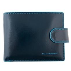 Мужское портмоне из натуральной кожи, синего цвета, с одним отделением и монетницей от Dor. Flinger, арт. 028-624 dark blue DF
