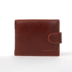Кожаное мужское портмоне, коричневого цвета, с монетницей на кнопке от Dor. Flinger, арт. 028-625B brown DF
