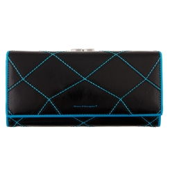 Кожаный женский кошелек, черного цвета, с тремя отделениями для купюр от Dor. Flinger, арт. 2010C-2-26 black/blue DF