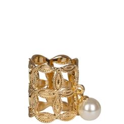Зажим для платков из золотистого металла, выполненный в виде кольца от Eleganzza, арт. R462 gold