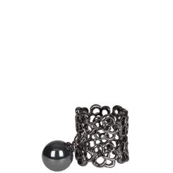 Роскошный ажурный зажим для платка из полированного металла цвета темного никеля от Eleganzza, арт. R473 black nickel