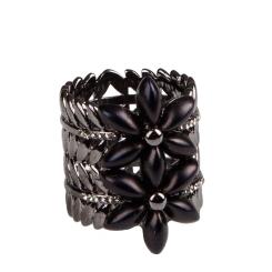 Эффектный зажим для платков с большим цветком от Eleganzza, арт. R509 black nickel