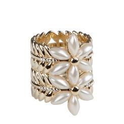 Изящный зажим для палантинов и платков, украшенный цветами от Eleganzza, арт. R509 white gold
