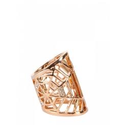 Асимметричный ажурный зажим для платков, выполненный в золотистом цвете от Eleganzza, арт. R540 white gold