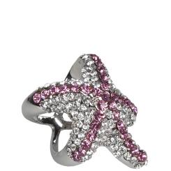 Эффектный зажим в виде роскошной звезды с цветными стразами от Eleganzza, арт. X1934 05 nickel-pink