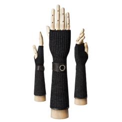 Длинные женские перчатки из черной натуральной шерсти с кожаной отделкой от Eleganzza, арт. 77088 black
