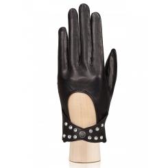 Модные автомобильные перчатки из натуральной кожи с вырезом на манжете от Eleganzza, арт. HP02751 black