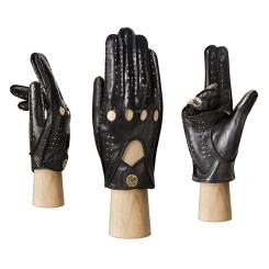 Автомобильные женские кожаные перчатки черного цвета с перфорацией от Eleganzza, арт. HS011W black