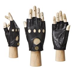 Автомобильные женские перчатки из натуральной кожи черного цвета от Eleganzza, арт. HS012W black