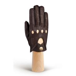 Женские автомобильные перчатки из темно-коричневой натуральной кожи от Eleganzza, арт. HS101W d.brown