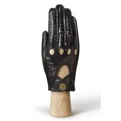 Автомобильные мужские перчатки из черной натуральной кожи ягненка от Eleganzza, арт. HS011M black