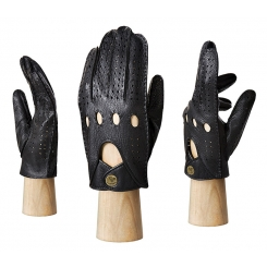 Автомобильные мужские перчатки из черной натуральной кожи оленя от Eleganzza, арт. HS101M black