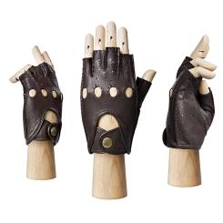 Автомобильные мужские перчатки из коричневой натуральной кожи оленя от Eleganzza, арт. HS102M brown