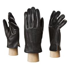 Стильные мужские перчатки из натуральной кожи оленя черного цвета от Eleganzza, арт. HS581 black