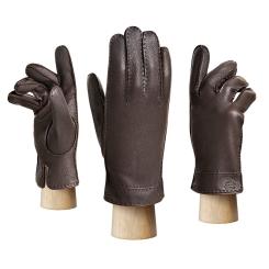 Коричневые мужские перчатки из натуральной кожи оленя от Eleganzza, арт. HS630M brown