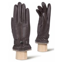 Коричневые мужские перчатки из натуральной кожи ягненка от Eleganzza, арт. IS980 d.brown/brown