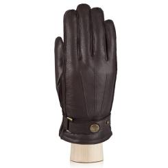 Стильные мужские перчатки из натуральной кожи оленя коричневого цвета от Eleganzza, арт. OS620 brown