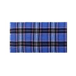 Двусторонний мужской шарф в синюю клетку из шерсти и шелка от Eleganzza, арт.  52х180 JG43-7692-10