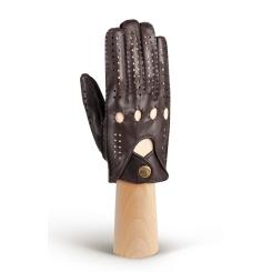 Автомобильные мужские перчатки из натуральной кожи, тёмно коричневого цвета от Eleganzza, арт. HS011M d.brown
