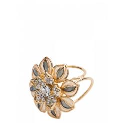 Женский зажим для платков, золотистого цвета, с изящным цветком от Eleganzza, арт. R640 gold