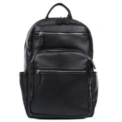 Большой мужской городской рюкзак из натуральной кожи черного цвета от Fabretti, арт. 2-707K-black