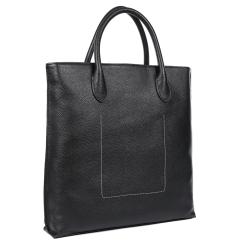 Вертикальная мужская деловая кожаная сумка для документов формата А4 от Fabretti, арт. B357-black