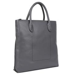 Вертикальная мужская сумка из натуральной кожи, модель для документов А4 от Fabretti, арт. B357-gray