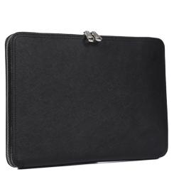 Стильная мужская папка черного цвета из натуральной кожи с тиснением от Fabretti, арт. CSN3543-black