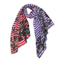 Женский шарф из приятного на ощупь модала красного и сиреневого цвета от Fabretti, арт. DS2016-003-1