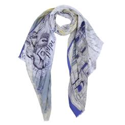 Нежный женский шарф из модала голубого и желтого цвета от Fabretti, арт. DS2016-004-5