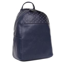 Женский рюкзак из натуральной кожи, украшен блестящими серебристыми хольнитенами от Fabretti, арт. F-20049 Blue