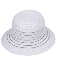 Шляпа от итальянского бренда, белого цвета с полями загнутыми вниз от Fabretti, арт. G27-4 WHITE