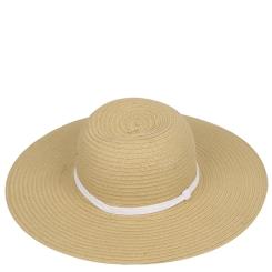 Женская летняя шляпа с широкими полями, модель бежевогоцвета от Fabretti, арт. G32-3/4 BEIGE/WHITE