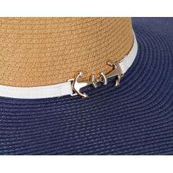Шляпа от итальянского бренда, бежевого и синего цвета от Fabretti, арт. GL34-3/5 BEIGE/BLUE