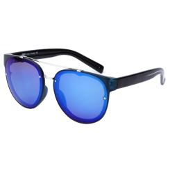 Круглые солнцезащитные очки черного цвета и синими стеклами от Fabretti, арт. J173388-2PZ