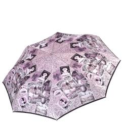 Сиреневый женский зонт автомат с красивым принтом на куполе от Fabretti, арт. L-17115-10