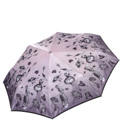 Сиреневый женский зонт автомат с красивым принтом на куполе от Fabretti, арт. L-17115-6