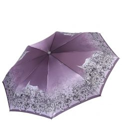 Сиреневый женский зонт автомат с красивым принтом на куполе от Fabretti, арт. L-17115-7