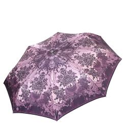 Фиолетовый женский зонт автомат с красивым принтом на куполе от Fabretti, арт. L-17116-10